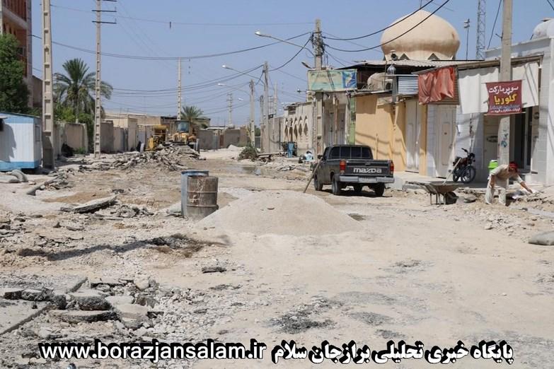 برازجان همچنان در مسیر توسعه / این بار بهسازی خیابان قدس هم شروع شد!