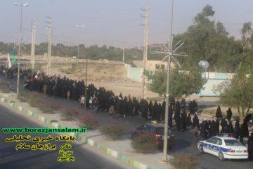 مراسم پیاده روی جاماندگان اربعین حسینی برازجان بدون حضور مسئولین برازجانی برگزار شد .