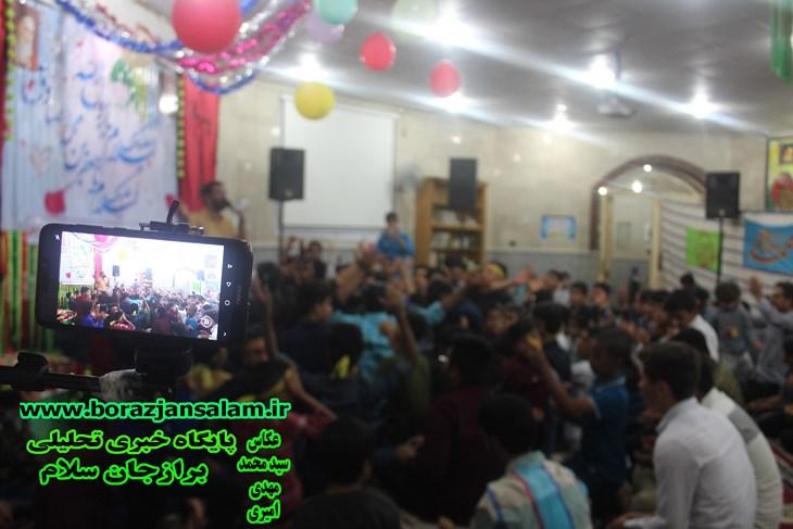 ویژه برنامه جشن ولادت حضرت محمد و امام جعفر صادق در مسجد امام حسین محله حسین آباد برازجان برگزار شد .