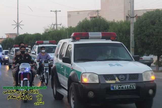 رزمایش وحدت یادمان شهدای مدافع سلامت استان بوشهر به صورت رژه خودرویی در سطح شهر برازجان به روایت تصویر