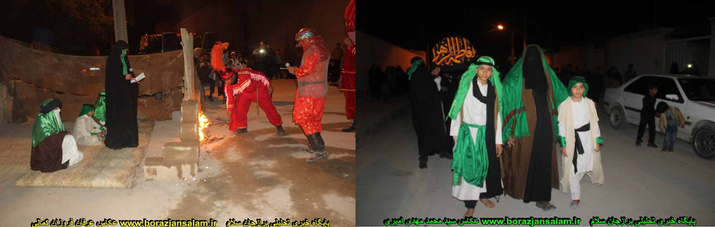 عکس و فیلم تعزیه و مراسم شهادت حضرت فاطمه زهرا خادمین نمایشگاه بانوی بی نشان برازجان