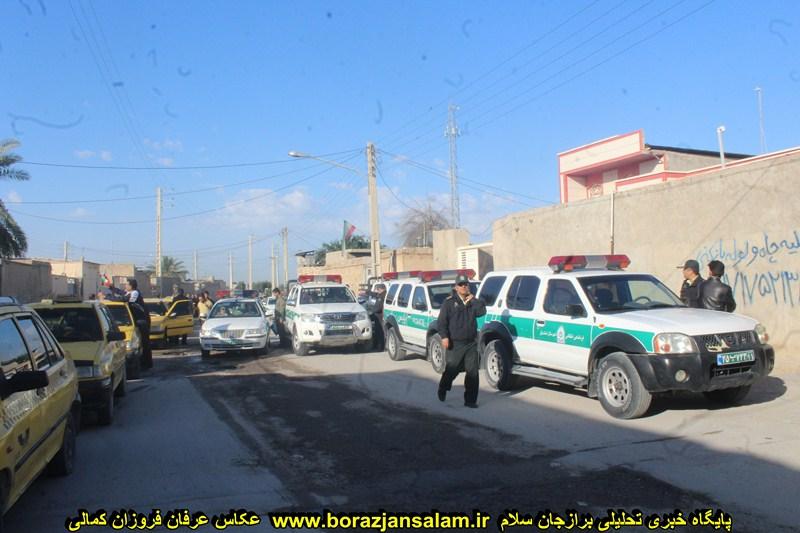تقدیر و تشگر مسجد قدس از رژه تاکسیرانی، خودروها و موتورهای نظامی و انتظامی برازجان
